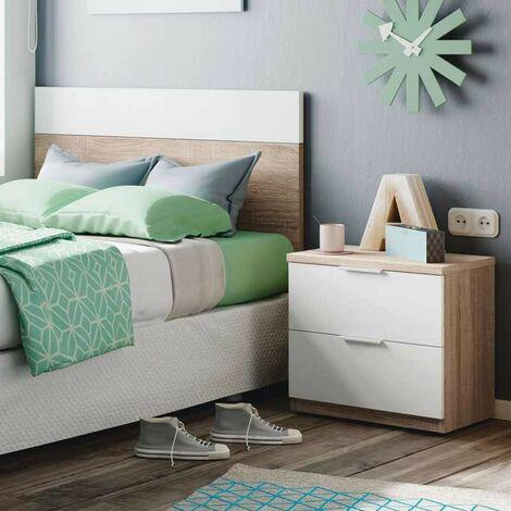 Cabezal dormitorio juvenil 1 mesita con 2 cajones color blanco y roble cabecero 90 cm