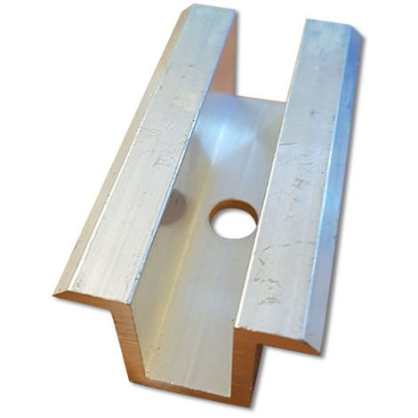 Morsetto intermedio in alluminio per fissaggio di moduli fotovoltaici