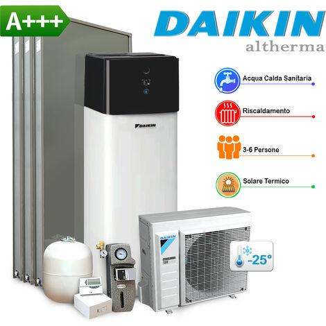 Sistema Daikin Compact R32 4 kW con impianto solare, in pompa di calore aria-acqua per riscaldamento, raffrescamento, acqua sanitaria