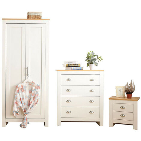 3-Piece Country Style Ledbury Bedroom Furniture Set in White