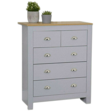 Country style 3+2 Chest of Drawer in Grey
