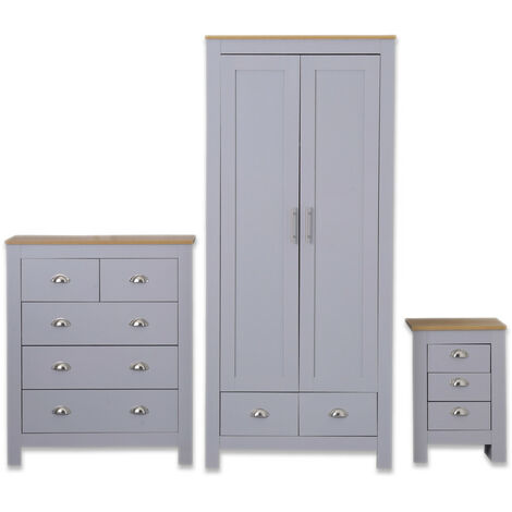 Country style 3 Piece Wardrobe set in Grey
