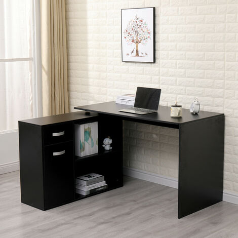 Roomee Adjustable Corner Computer Desk with Drawers and Storage Shelves in Black