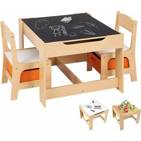 COSTWAY Table et 2 Chaises pour Enfants Ensemble Table et Chaises Enfant Tableau Transformable avec Chaise Fonction de Stockage Naturelles