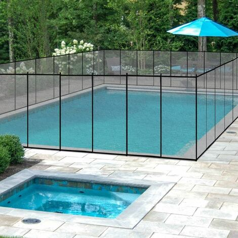 COSTWAY Barrière de Protection Souple Barrière de sécurité pour Piscine Barriere Filet en Aluminium 3, 66 x 1, 22 cm Noire