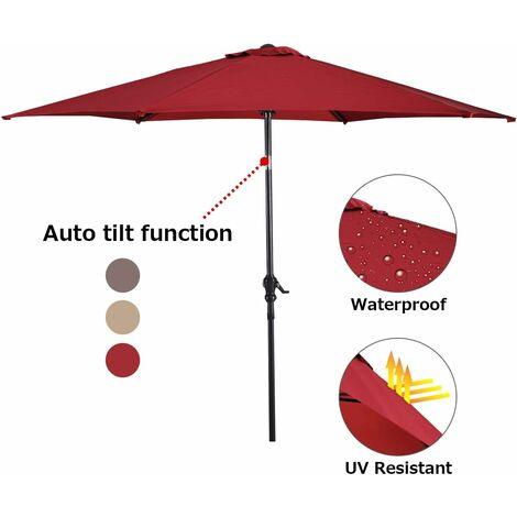 COSTWAY Parasol inclinable diamètre 3m en acier patio