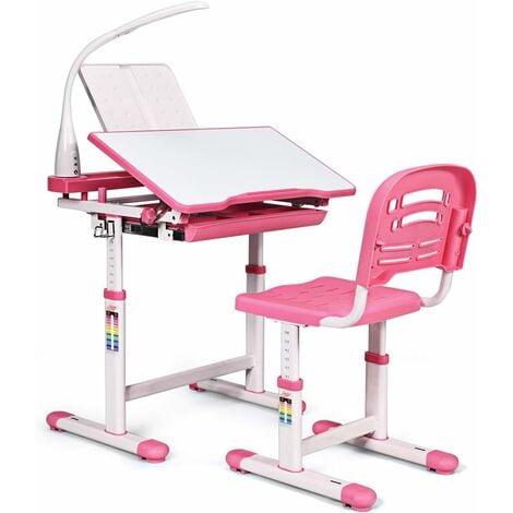COSTWAY Set Bureau et Chaise pour Enfants avec Lampe LED,Bureau Inclinable 0°-40°,Hauteur Réglable,Charge Maximale 80KG Rose