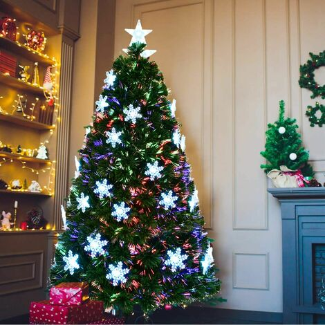COSTWAY Sapin de Noël Artificiel LED 210cm Lumineux en Fibre Optique Lumière Variable avec Etoile à la Cime et Décorations de Neige 230V