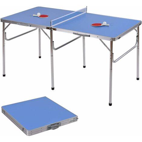 COSTWAY Table de Ping-pong Pliable Table de Tennis Portable avec 2 Raquettes et 2 Balle Bleu