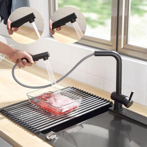 Grifo de Cocina de Acero Inoxidable Negro, Giratorio 360º, Agua Fría y Caliente Regulable