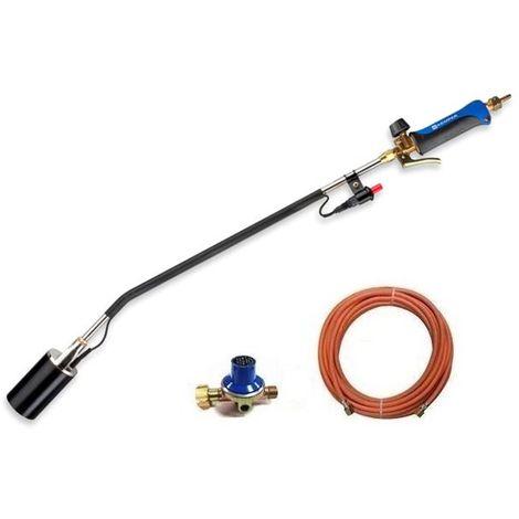Kemper Désherbeur thermique à piézo avec tuyau de gaz 10 m et régulateur de pression