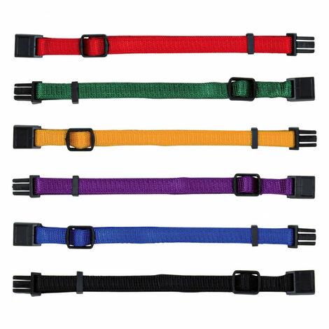 Junior colliers chiot - S-M: 17-25 cm/10 mm, 6 pcs, noir, rouge, bleu royal, pomme, papaye, orchidée