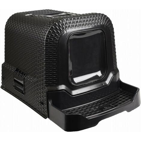 Maison de toilette - 42 x 69 x 41 cm Rattan noir pour chat