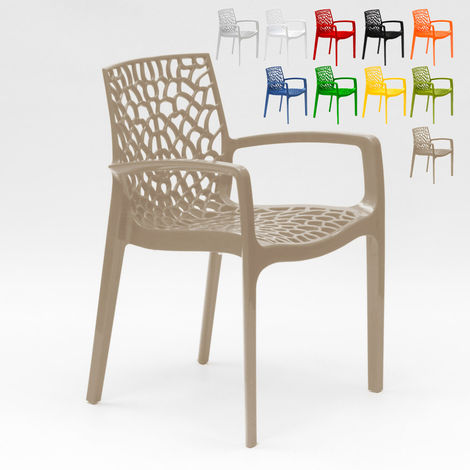 Polypropylene Design Chair with Armrests for Kitchens Bar Cafè GRUVYER ARM