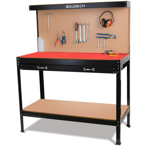 Banco da lavoro porta utensili in metallo con parete e cassetti officina 120x60cm + 2 cassetti e 2 mensole porta utensili + Tappetino