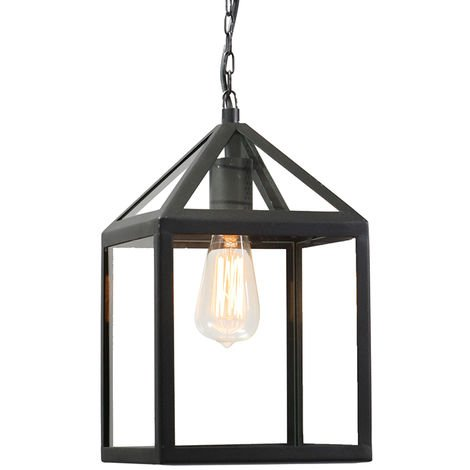 Lampe suspendue d'extérieur industrielle noire - Amsterdam Qazqa Rustique Luminaire exterieur cube
