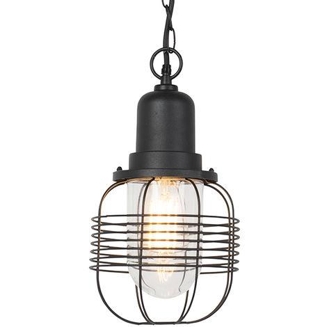 QAZQA Guardado - Suspension Rustique - 1 lumière - H 1600 mm - Noir - Rustique - Éclairage extérieur