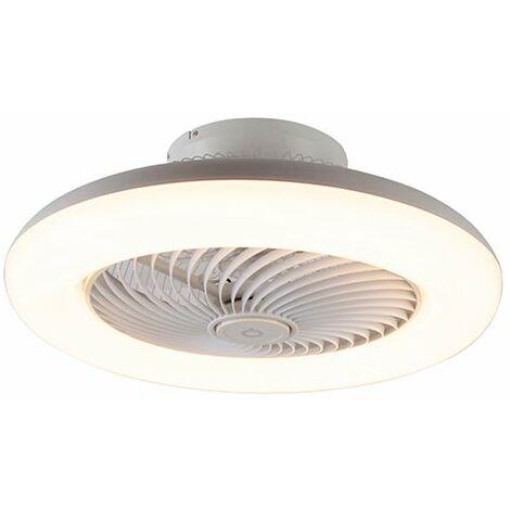 Ventilateur de plafond Design blanc avec LED dimmable - Clima Qazqa Design Luminaire interieur Rond