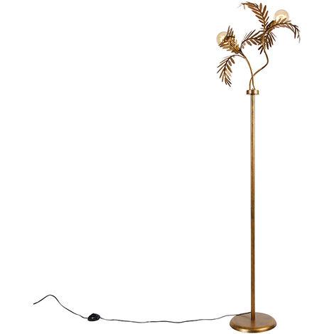 Lampadaire vintage doré à 2 lumières - Botanica Qazqa Rustique Luminaire interieur
