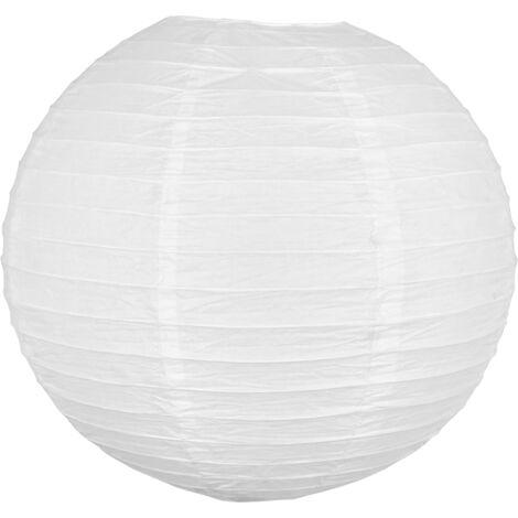 Lampion Boule Papier 40 CM Blanc - Lanterne Japonaise Papier - Lanterne Chinoise en Papier pour Mariage Baby Shower et autre Célébrations Champetre Boheme ou Romantique - Blanc