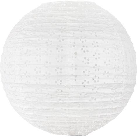 Boule Papier 35cm Ajourée Blanc - Blanc