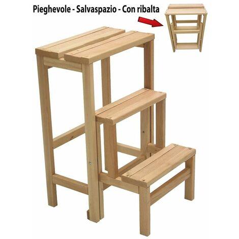 sgabello scala in legno in faggio naturale richiudibile salvaspazio