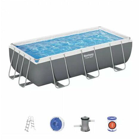 piscina fuori terra bestway power steel rettangolare con pompa, filtro e scaletta - 404x201x100 cm - 56441