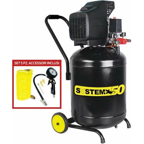 compressore verticale lubrificato ad olio da 50 litri system + con kit accessori incluso