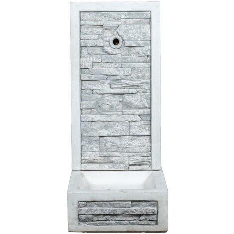 """fontana a muro """"adige"""" in cemento anticato colore grigio - 40x40x92 cm"""