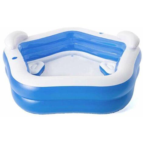 piscina bestway family pentagono con sedute - 213x207x69cm - 54153