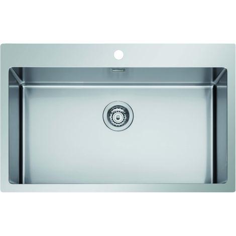 Lavello ICROS 75X51, 1 vasca con foro per miscelatore, ACCIAIO INOX AISI 304-18/10 Made in Italy