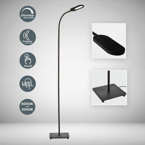 Lampadaire LED design métal orientable intensité couleur réglable touch flexible