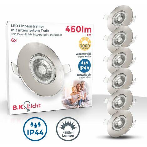 6x spots 5W LED encastrables spécials sdb ultra-plats nickel mat salle de bain IP44