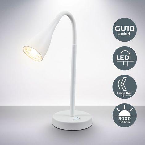 Lampe de table ou de chevet luminaire de lecture lampe de bureau 5W LED 230V blanche