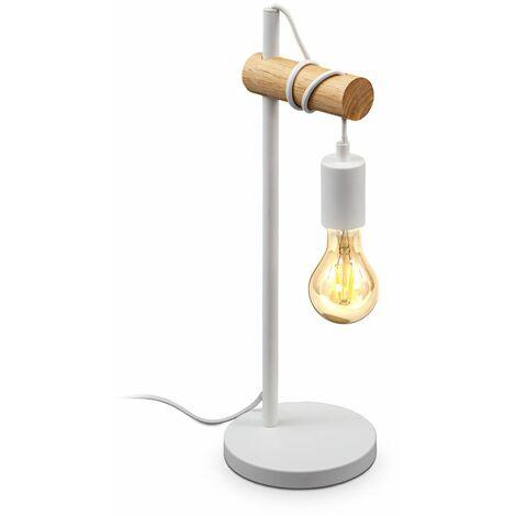 B.K.Licht lampe de table, design rétro industriel, bois & métal, éclairage salon & chamber, lampe de chevet, douille E27, pour ampoule LED 10W max., blanche
