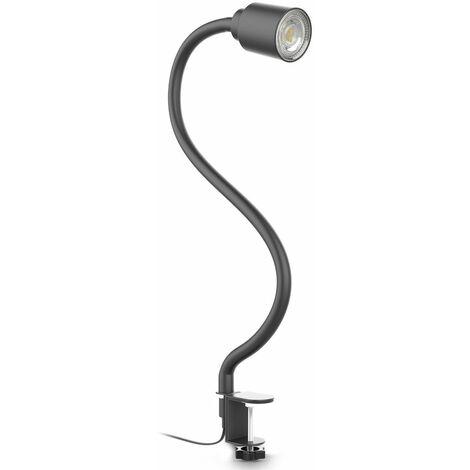 Lampe de lecture LED pivotante bras flexible lampe à pince pour bureau chevet noir avec ampoule LED GU10 5W 3000K