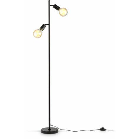B.K.Licht Lampadaire rétro industriel, pour 2 ampoules LED E27 de max 10W (non fournies), spots orientables, éclairage salon, salle à manger, chambre, métal noir
