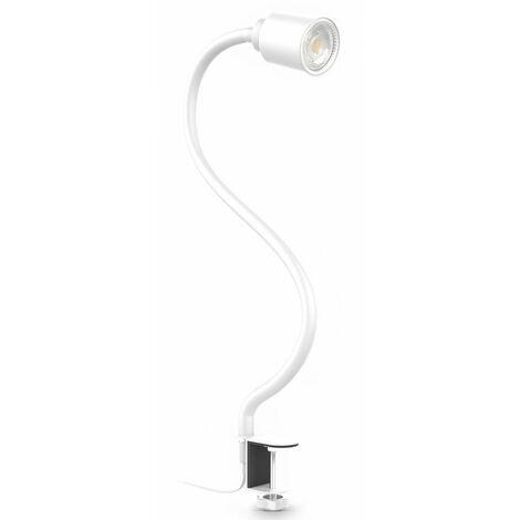 B.K.Licht lampe de lecture LED, pivotante & inclinable avec bras flexible, avec ampoule LED GU10 5W, 3000K, lampe à pince pour bureau & chevet, blanche