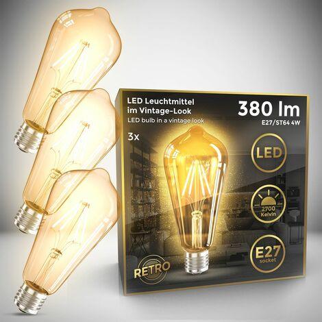 B.K.Licht Lot de 3 ampoules LED Edison Vintage ST64 I E27, 4W, blanc chaud 2700K, intensité lumineuse 380lm, ampoule rétro à filament