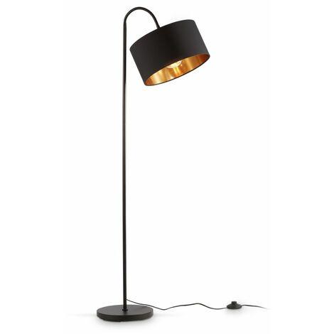 B.K.Licht lampadaire rétro pivotant I abat-jour en tissu noir et doré I pour une ampoule E27 I I abat-jour en tissu 30 cm I câble de 140 cm avec interrupteur à pied I livré sans ampoule