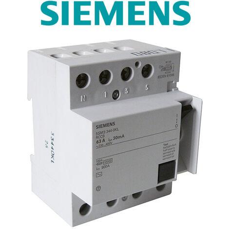 Interrupteur différentiel tétrapolaire 30mA 63A type AC - SIEMENS