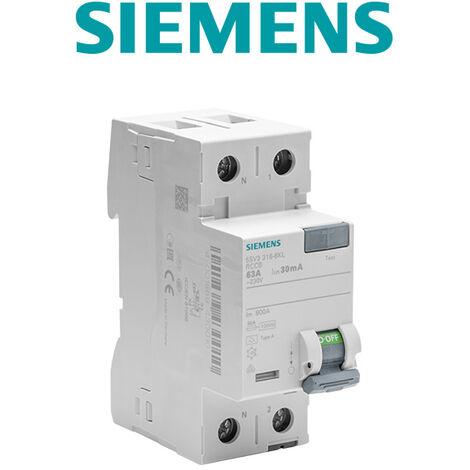 Interrupteur différentiel 30 mA 63 A Type A - SIEMENS