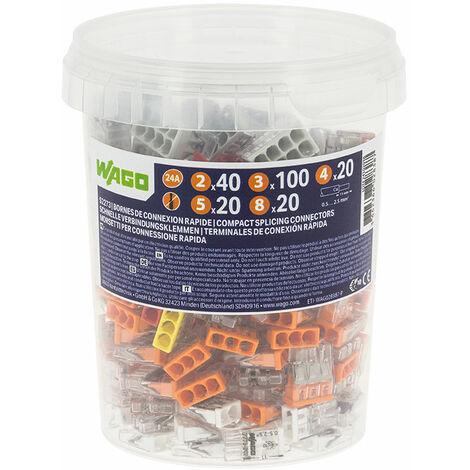 Pot de 200 bornes de connexion automatique S2273 2,3,4,5, et 8 entrées - WAGO