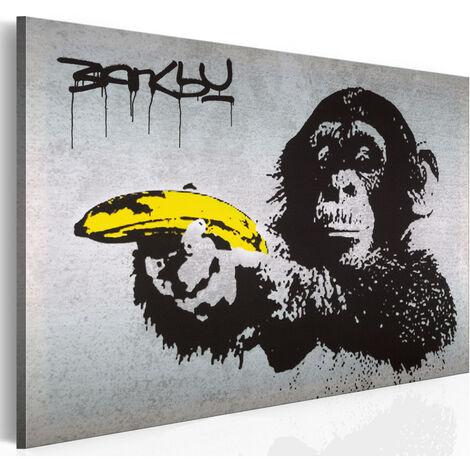 Tableau - Arrête ou le singe va tirer! (Banksy) 120x80