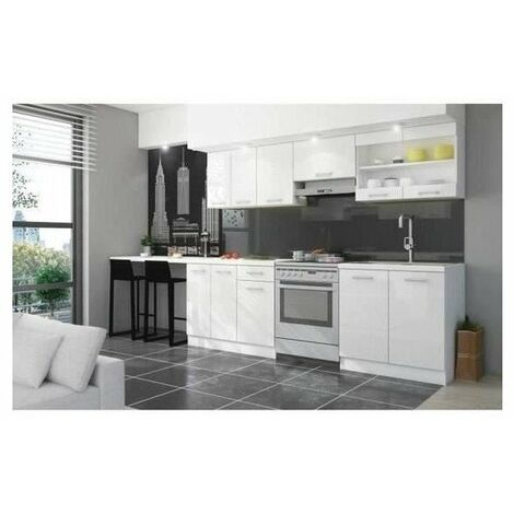 ULTRA Cuisine complete avec plan de travail L 2m40 - Blanc laqué brillant