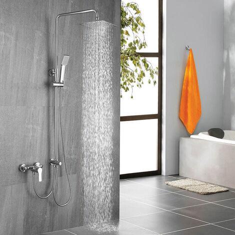 Columna de ducha SIN GRIFERÍA extensible de 80 a 120 cm AZ. Se conecta a grifos de ducha estandar. Incluye desviador, 2 flexos de 60cm y 175cm, ducha de mano y rociador superior con diseño cuadrado Kibath