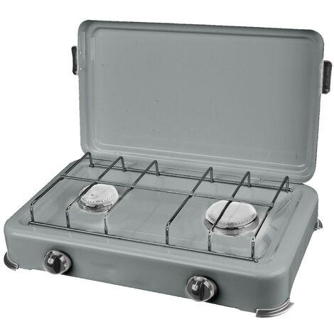 Plaque de cuisson gaz portable 2 feux 2350W SILVER 2 Butane/Propane Bruleurs inox Couvercle