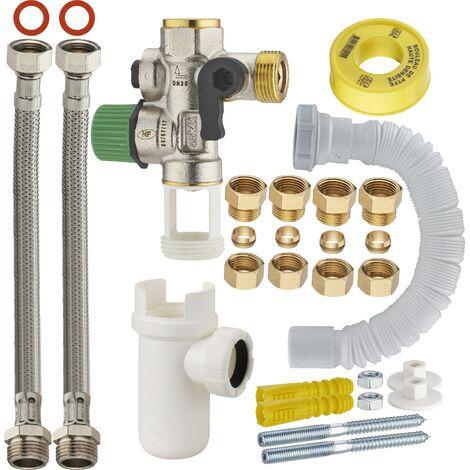 kit de conexión fácil para calentador de agua con grupo de seguridad de teflón