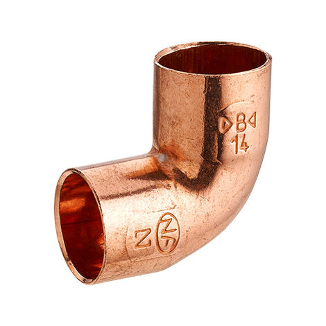 codo cobre para soldar a 90° radio pequeño doble hembra igual