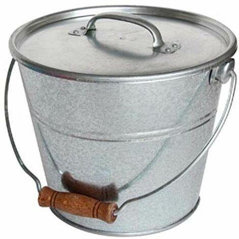Seau avec couvercle pour cendres granulés ou compost - Gris